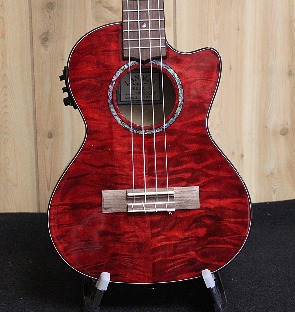 Lanikai Lanikai Quilted Maple Red Stain Tenor Acoustic/Electric Ukulele w/gig bag