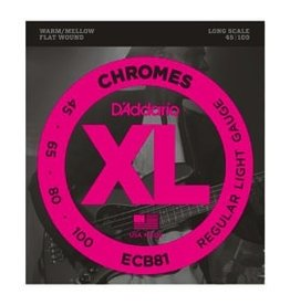 D'Addario D'Addario Long Scale Flat Wound Chromes Bass Strings .045-.100
