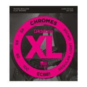 D'Addario D'Addario Long Scale Flat Wound Chromes Bass Strings .045-.100