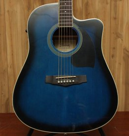 Ibanez Ibanez Performance Dreadnought Acoustic Electric Cutaway Guitar in Transparent Blue Sunburst High Gloss