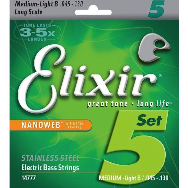 Elixir Elixir Electric Bass Stainless Steel Nanoweb 5 String Long Scale Medium w/Light B (.045-.130)