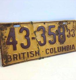 1933 BC license plate