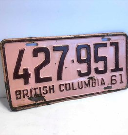 1961 BC license plate