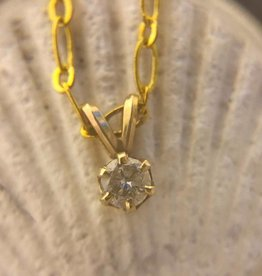 14 kt gold diamond solitaire and chain