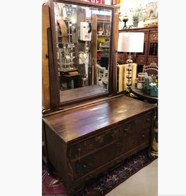 Oak gentlemen's dresser with beveled glass mirror