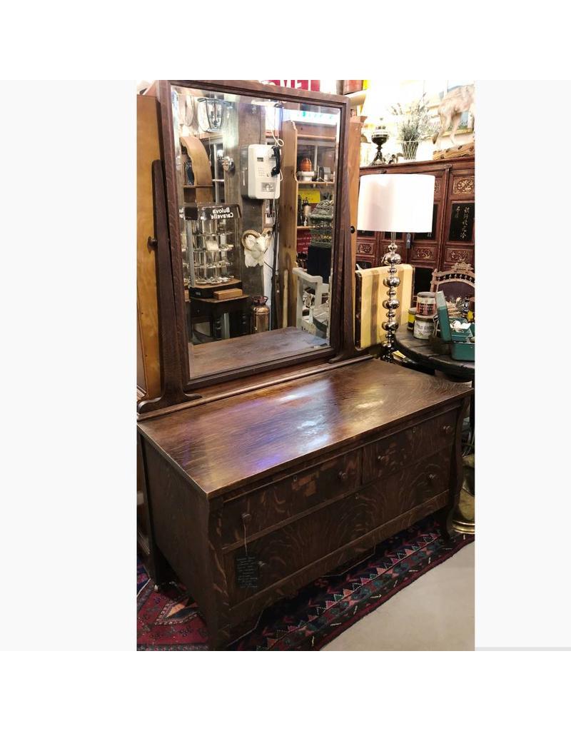 Antique Empire Style Canadian Quarter Sawn Dark Oak Gentlemen S Dresser With Original Beveled Mirror