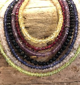 Necklace - semiprecious stones, sterling silver clasps