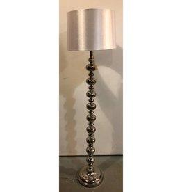 Chrome stacked-ball floor lamp