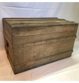 Antique solid pine trunk with iron handles