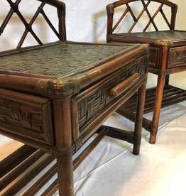 Pair of bamboo and rattan side tables