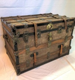Wood-banded trunk with leather strap and interior tray