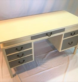 Mid-century modern desk with six drawers