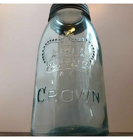 Blue glass Crown canning jar