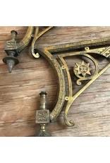 Brackets - brass lamp brackets, antique gas lamp? As is, pair