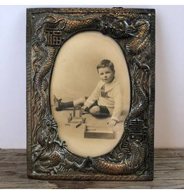 Spelter picture frame with Chinese dragons