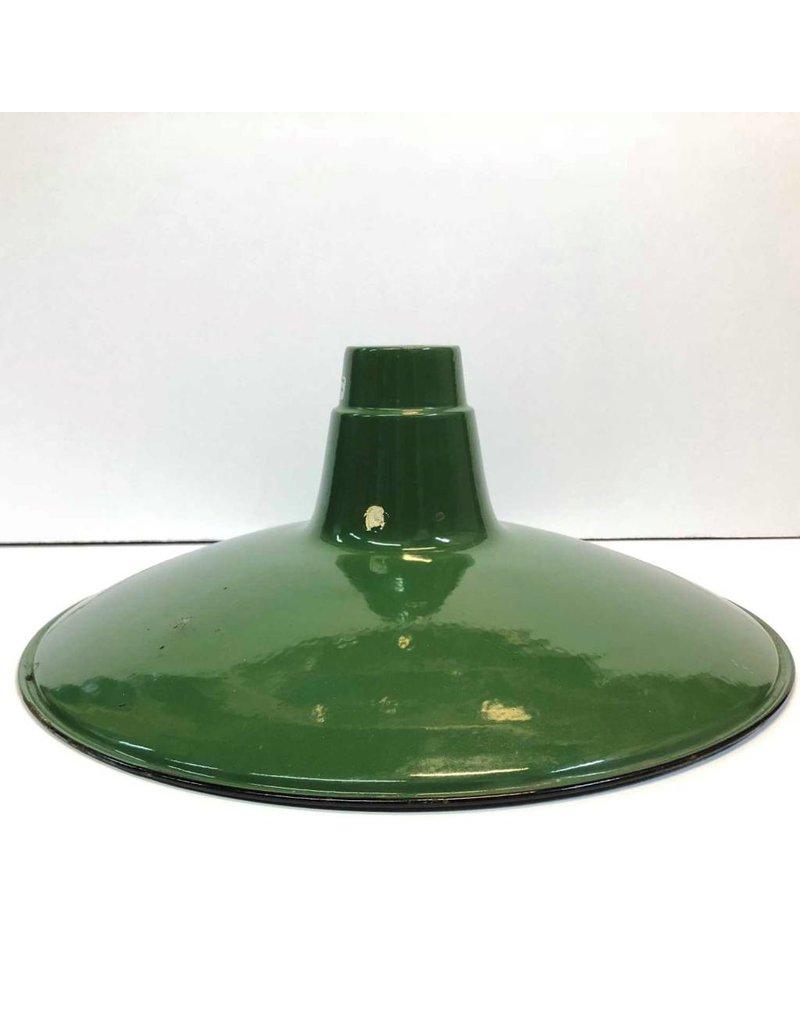 "Enamel lamp shade - green, 16"", slim profile"