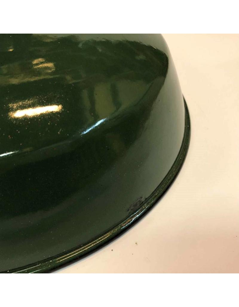 "Enamel lamp shade - green, 12"", with screw top coupler"
