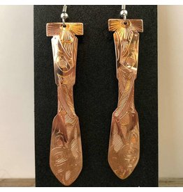 Carved copper paddle earrings