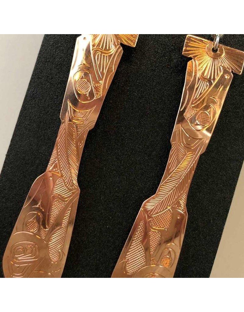 Earrings - carved copper paddle earrings by Sandi McKay