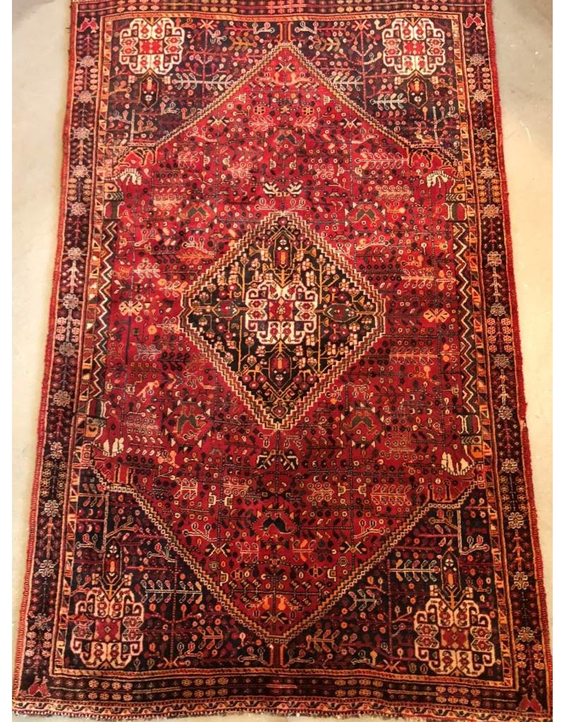 "Carpet - Persian, 7'8"" x 4'10"", rich red, floral pattern"