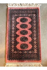 "Carpet - rose coloured Bokhara, 4'9"" x 2'7"""