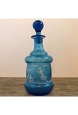 Perfume bottle - Victorian blue glass with stopper, Mary Gregory glass, handpainted
