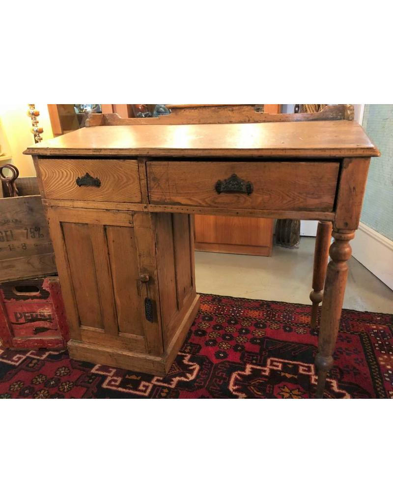 Desk Antique Pine Two Drawers One Cupboard Writing