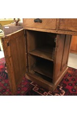 Desk - antique pine, two drawers, one cupboard writing desk