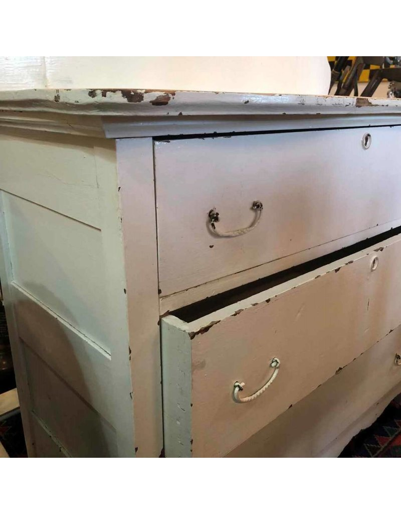 Dresser - white, three drawers, with mirror, distressed paint