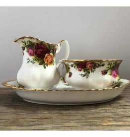 Cream & sugar on tray - Old Country Roses