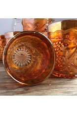 Pitcher and tumblers set - marigold carnival glass, Imperial Glass Co, grape & cable