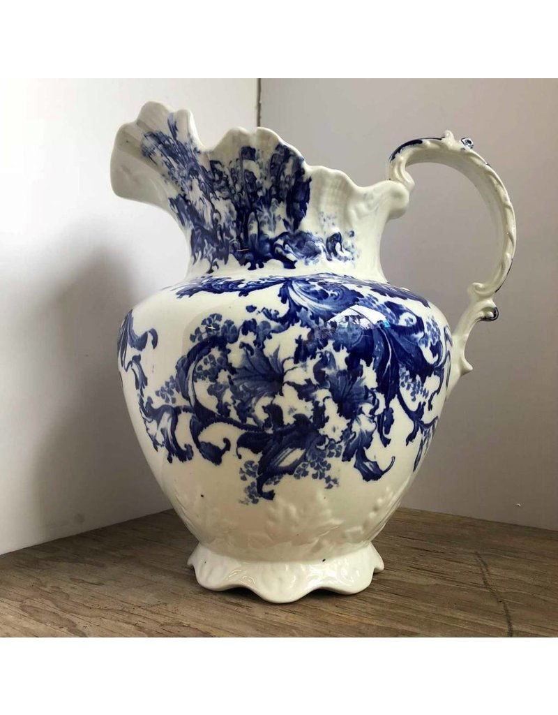 """Pitcher - large blue and white, flow blue, Samuel Ford, """"Rudyard"""" pattern"""