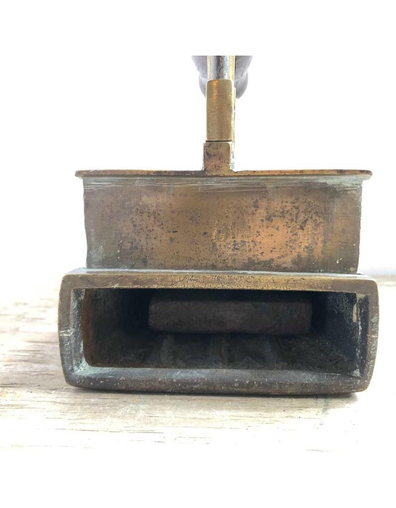 Sad iron - antique box iron with slug, brass, wooden handle