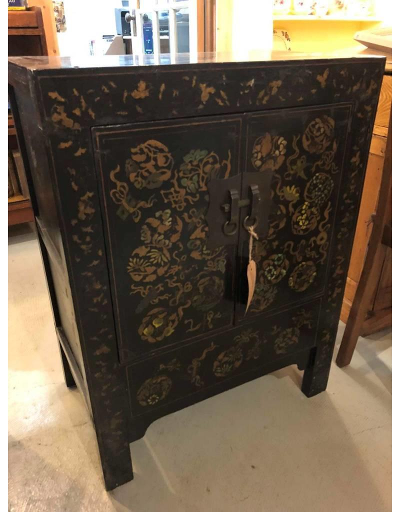 Oriental cabinet - black, lacquered, hand decorated