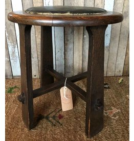 Arts and crafts stool with leather seat