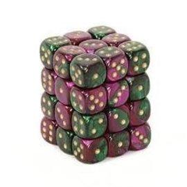 Chessex 36 Green-Purple w/gold Gemini 12mm D6 Dice Block - CHX26834