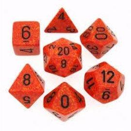 Chessex Fire Speckled Polyhedral 7 Die Set - CHX25303