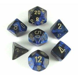 Chessex 7 Set Polyhedral Dice - Gemini - Black Blue/Gold 7 Dice Set - CHX26435