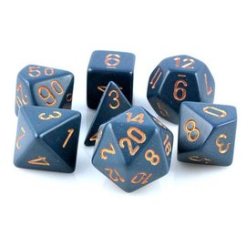 Chessex 7 Set Polyhedral Dice - Opaque - Dusty Blue/Gold - CHX25426