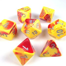 Chessex 7 Set Polyhedral Dice - Gemini - Red Yellow/Silver - CHX26450