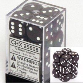 Chessex 12 Black /white Opaque 16mm D6 Dice Block - CHX25608
