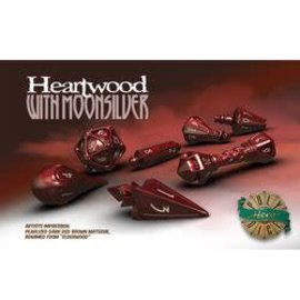 PolyHero Dice PolyHero Dice: Wizard Set - Heartwood with Moonsilver