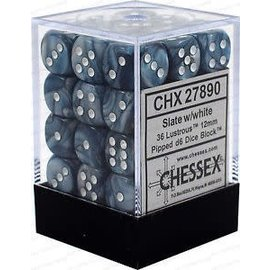 Chessex 36 12mm D6 Dice Block - Lustrous - Slate/White - CHX27890