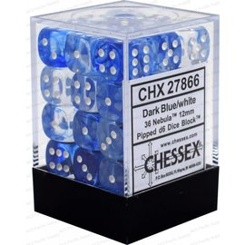 Chessex 36 12mm D6 Dice Block - Nebula - Dark Blue/White - CHX27866