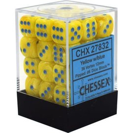 Chessex 36 12mm D6 Dice Block - Vortex - Yellow/Blue - CHX27832