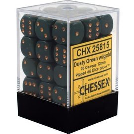 Chessex 36 12mm D6 Dice Block - Opaque - Dusty Green/Copper - CHX25815
