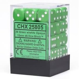 Chessex 36 12mm D6 Dice Block - Opaque - Green/White - CHX25805