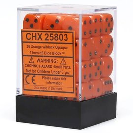 Chessex 36 12mm D6 Dice Block - Opaque - Orange/Black - CHX25803