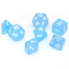 Chessex 7 Set Polyhedral Dice - Frosted - Caribbean Blue/White - CHX27416