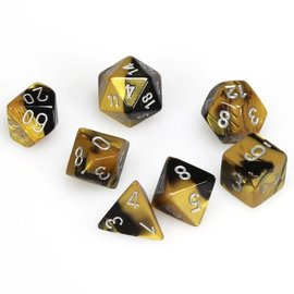 Chessex 7 Set Polyhedral Dice - Gemini - Black Gold/Silver - CHX26451